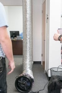 duct blaster test for leaky air ducts